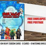 Invitation de fête d'anniversaire Lego Ninjago, Lego Ninjago Invitation épais Cartes + enveloppes, 8