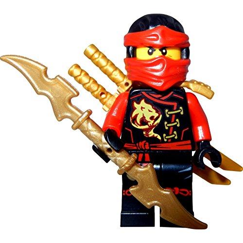 Kai Skybound (Minifigurine Rouge Ninja) avec deux épées Lego et une épée GalaxyArms