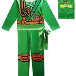 FINDPITAYA Déguisement Ninjago Masters of Spinjitzu Halloween Noel Ninja Cosplay Costume avec Masque et Ceinture Enfant Vert