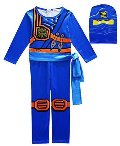 Déguisement Ninjago Masters of Spinjitzu, Costume avec Masque et Ceinture, Bleu