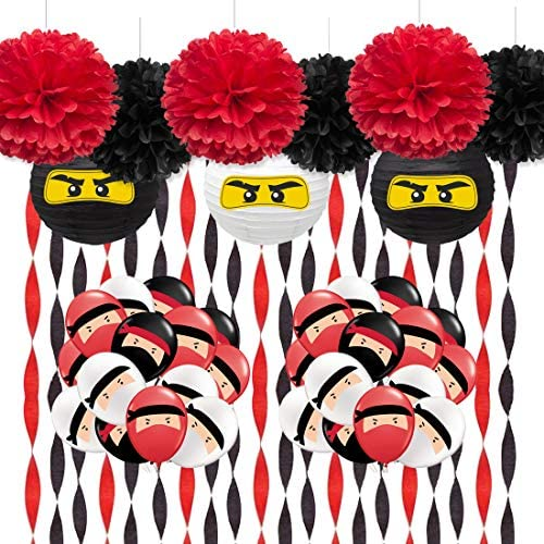Décorations de Fête Blanc Noir Rouge avec Ballons de Ninja, Lampion, en Papier