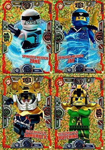 Lego Ninjago Série 3 – 4 cartes édition limitée Or – LE5 Zane, LE6 Jay, LE7 Samurai X, LE8 Hutchins