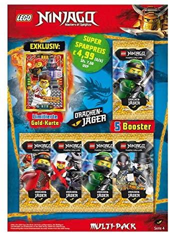 Lot de 5 boosters et Carte en Or limitée Lego Ninjago Série IV