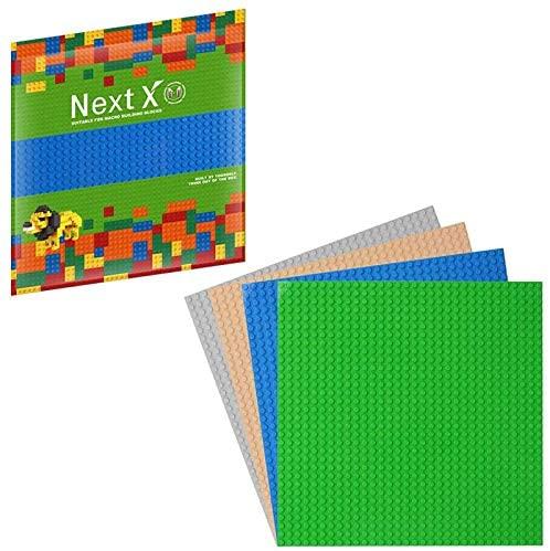 NextX 4 Plaques de Base pour Jeux de Construction 25cm x 25cm Compatible avec Briques de Marque Principales – Vert+Bleu+Gris+Beige