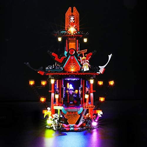 Lumières LED pour le Temple de la Folie de l'empire, Compatible avec Lego 71712